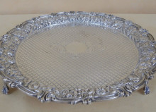 Antique Silver Footed Round Tray