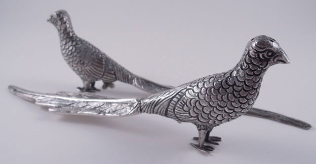 Antique Silver Pheasants