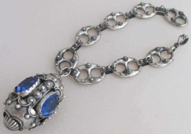 Antique Vintage Etruscan 800 Silver Jeweled Charm Bracelet