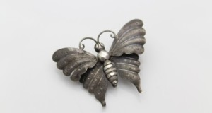 Antique Sterling Silver Butterfly Brooch