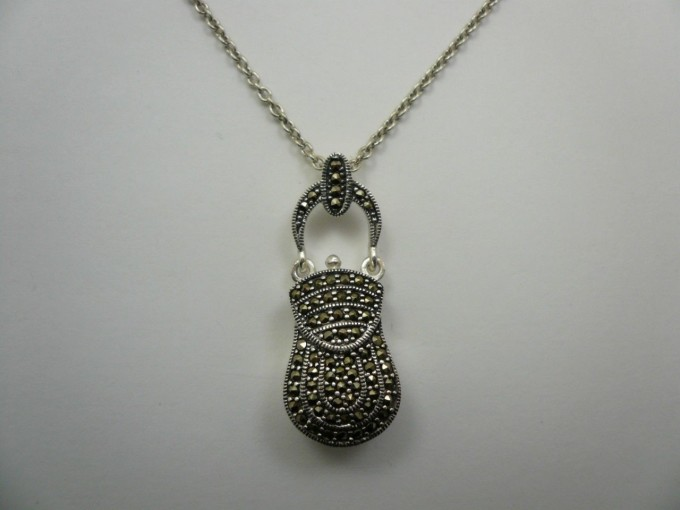 Vintage Sterling Silver Marcasite Purse Necklace Pendant