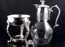 vintage silver and glass coffee carafe